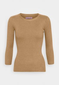 Anna Field - BASIC- rib 3/4 sleeve jumper - Strikkegenser - camel - 0