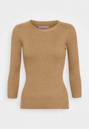 BASIC- rib 3/4 sleeve jumper - Strickpullover - camel