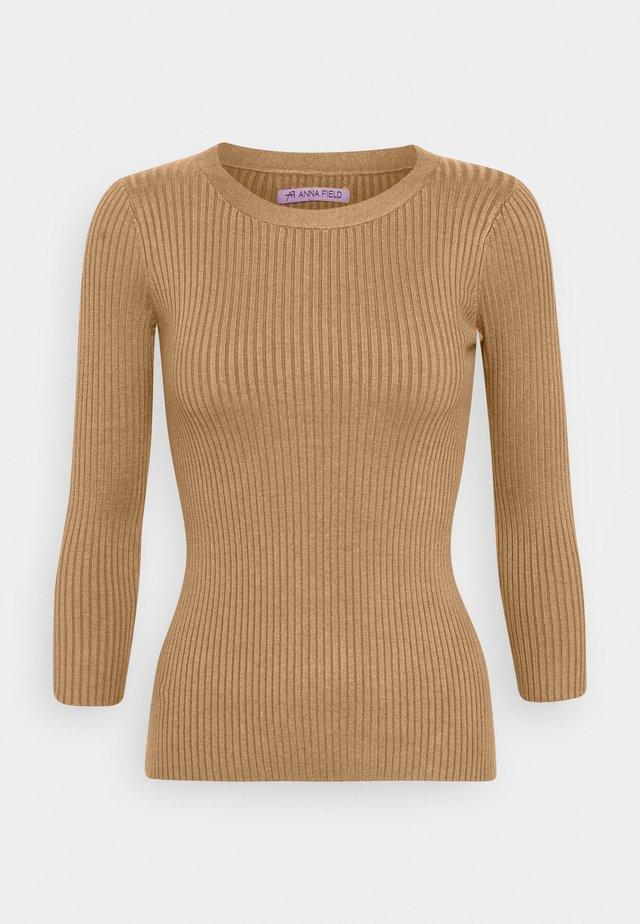 BASIC- rib 3/4 sleeve jumper - Pullover - camel