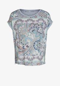 Oui - Print T-shirt - lt green grey - 4
