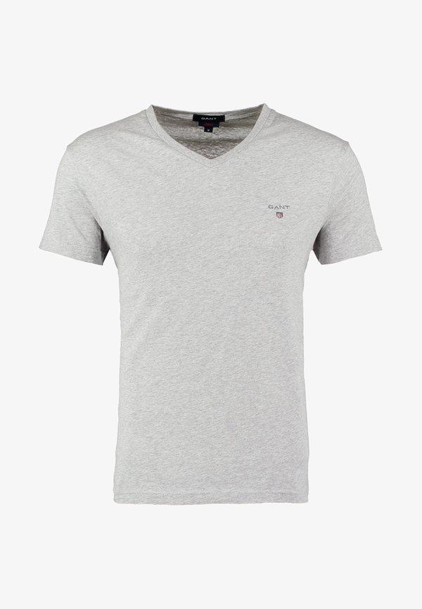 GANT ORIGINAL SLIM V NECK - T-shirt basic - light grey melange/jasnoszary melanż Odzież Męska QVBE