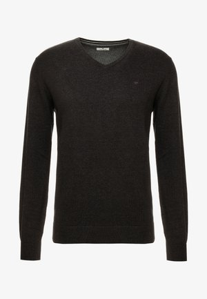 BASIC V NECK  - Jumper - black/ grey melange