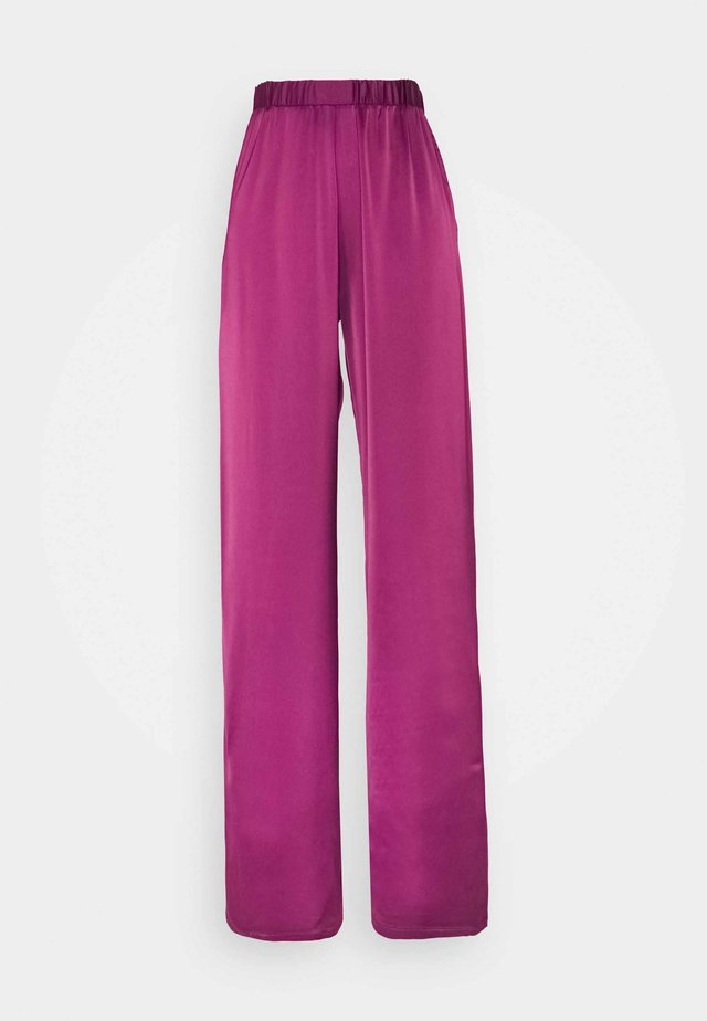 WIDE LEG TROUSER - Broek - deep berry