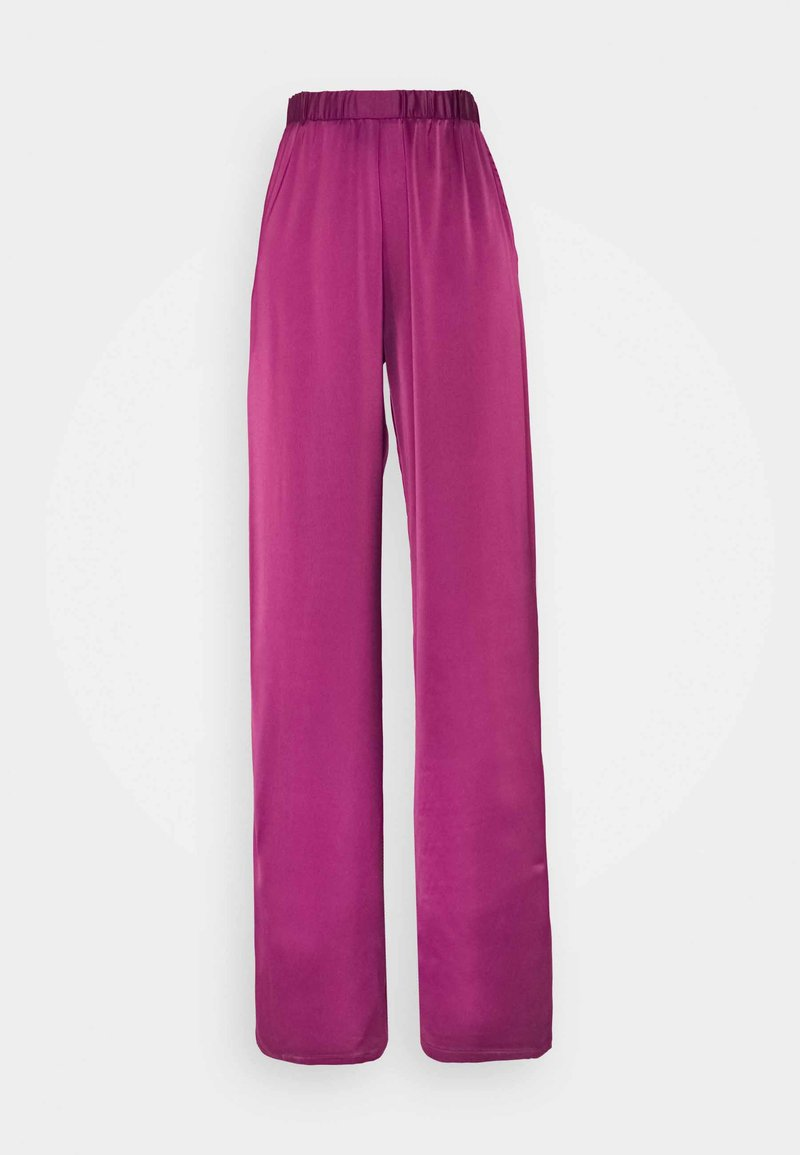 Who What Wear - WIDE LEG TROUSER - Trousers - deep berry