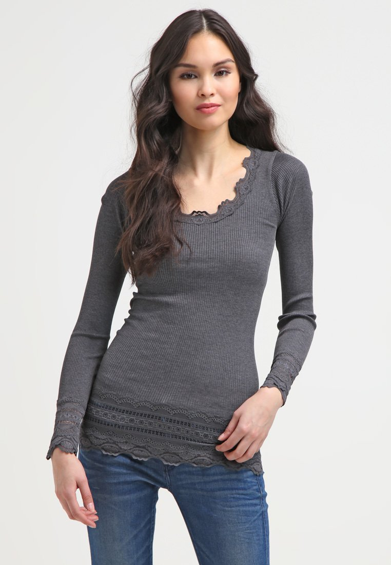 Rosemunde SILK-MIX T-SHIRT MEDIUM LS W/WIDE LACE - T-shirt à manches longues - grau - Tops & T-shirts Femme iVFxk