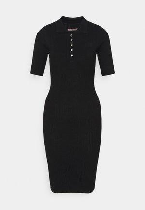 QUARTER SLEEVES POLO MINI DRESS FITTED - Etui-jurk - black