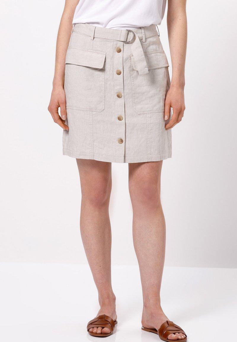 zero - MIT GÜRTEL - A-line skirt - beige