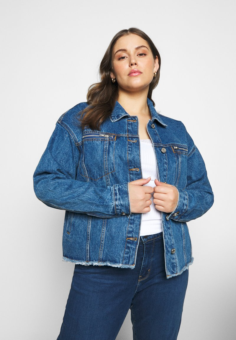 Missguided Plus - OVERSIZED JACKET - Giacca di jeans - indigo