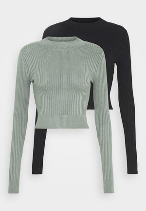 2 PACK- CROPPED JUMPER - Strickpullover - olive/black