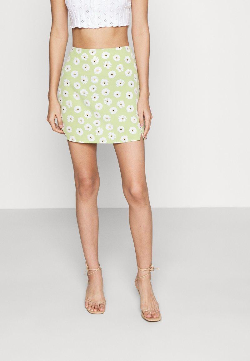 Glamorous - CARE NOTCH SKIRTS - Mini skirt - olive green