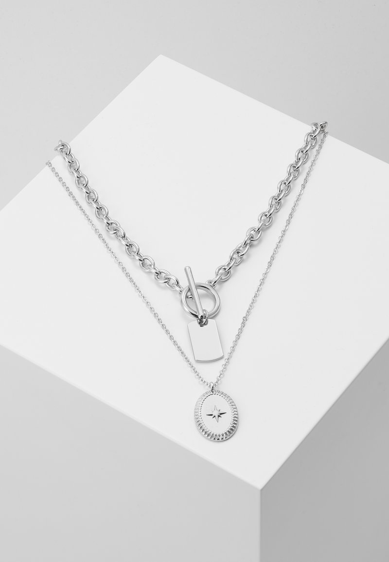 Pieces - PCDUNIO COMBI NECKLACE KEY 2 PACK - Náhrdelník - silver-coloured