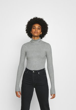 BASIC- RIBBED TURTLE NECK - Pullover - mid grey melange