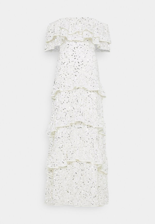 BARDOT ALL OVER SEQUIN MAXI DRESS WITH RUFFLES - Abito da sera - ivory