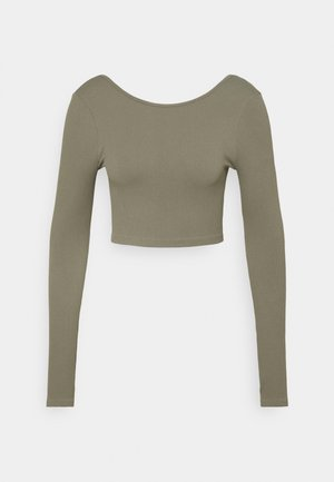 LIFESTYLE SEAMLESS LONG SLEEVE CROP - Topper langermet - steely shadow