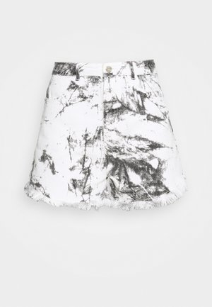 MARBLE PRINT HEM - Shorts vaqueros - white