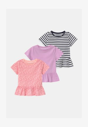 3 PACK - Camiseta estampada - pink/purple/black