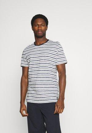 STRIPED - T-shirt print - offwhite/navy