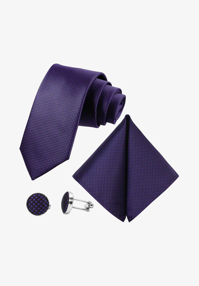 GASSANI - 3 SET - MORENO CRAVATTA  - Pocket square - schwarz  purpurviolett lila getupft