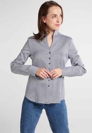 Button-down blouse - marine/weiß
