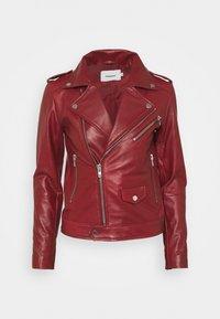 RIVER - Leather jacket - burgundy