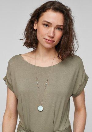 MET STENEN HANGER - Necklace - moonlight gold/mint