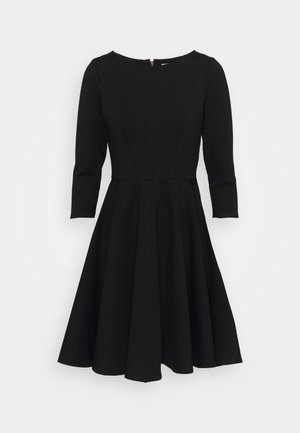 3/4 SLEEEVE SKATER DRESS - Jersey dress - black