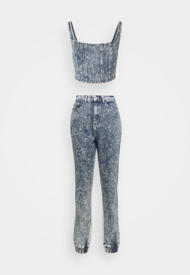 ACID WASH CORSET AND JOGGER CO ORD SET - Débardeur - blue