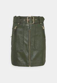 Topshop - HARDWEAR ZIP BIKER SKIRT - Áčková sukně - olive - 0