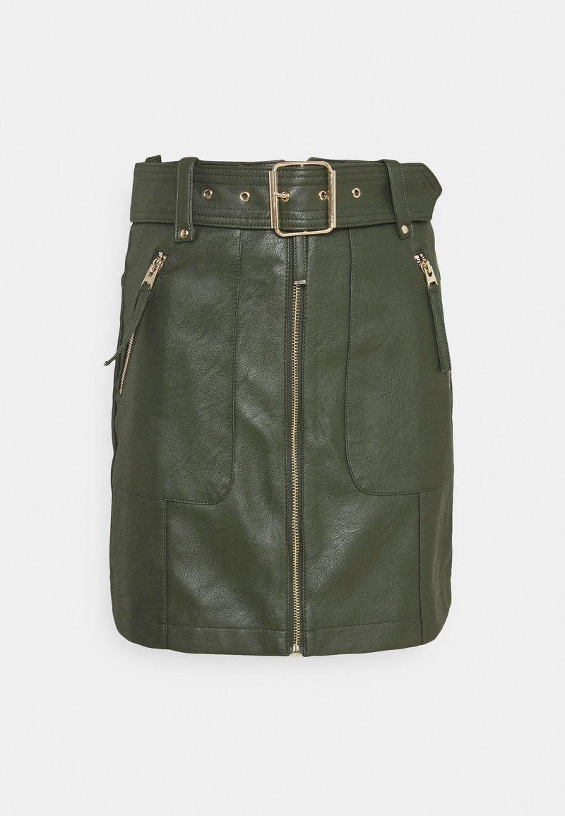 Topshop - HARDWEAR ZIP BIKER SKIRT - Áčková sukně - olive