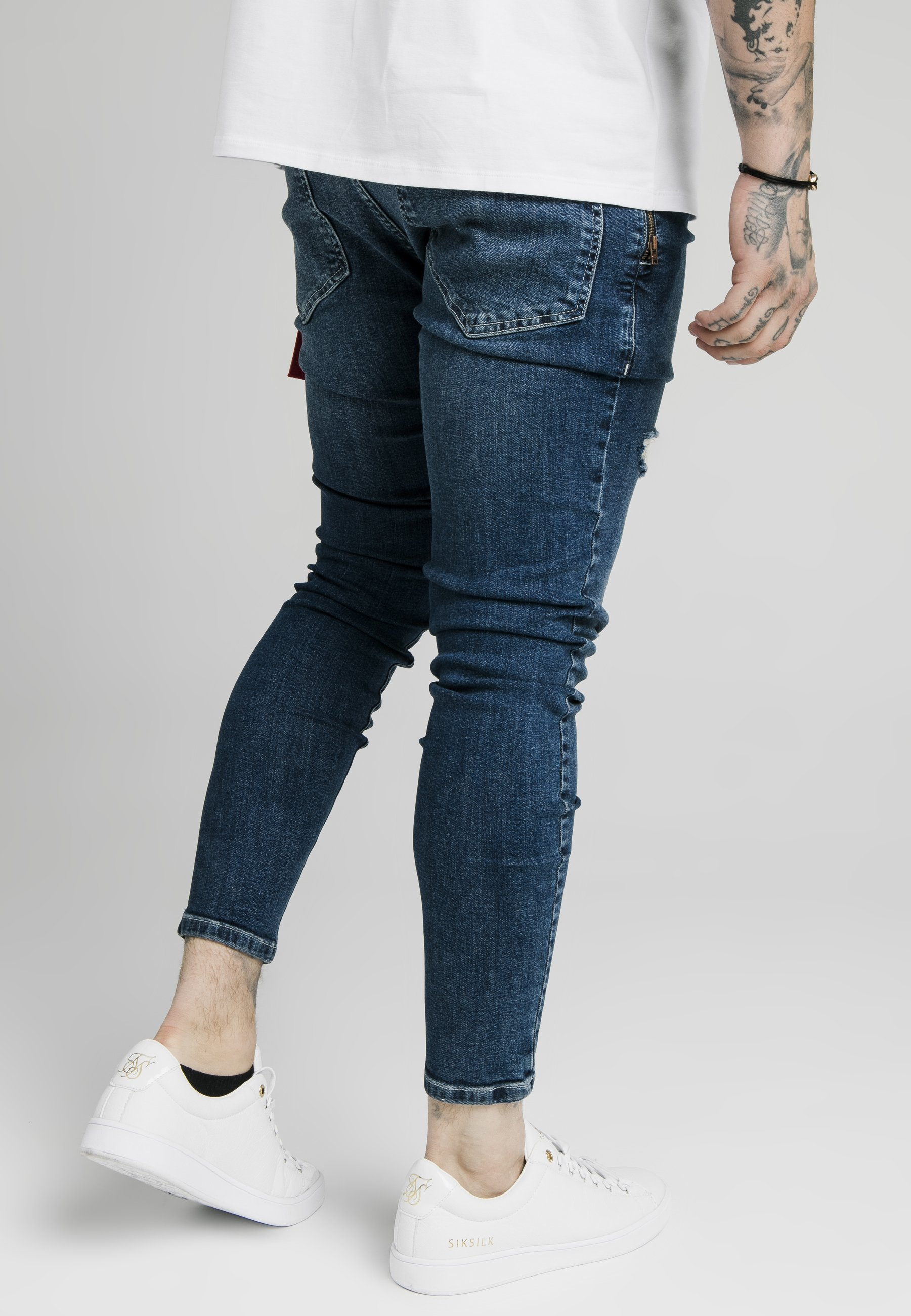 Siksilk Distressed With Zip Detail - Jeans Skinny Fit Midstone Blue/blå