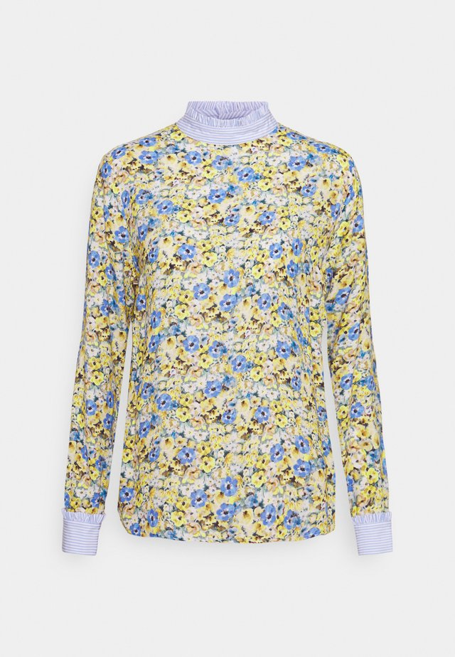 BLOUSE WITH CONTRAST FABRIC - Blouse - lemonade