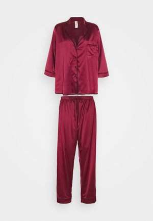 LONG WITH CONTRAST PIPING - Pyjamas - wine