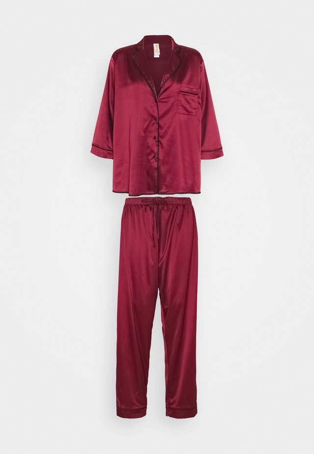 LONG WITH CONTRAST PIPING - Pyjama - wine