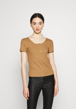 ONLSIMPLE LIFE BUTTON - Basic T-shirt - toasted coconut