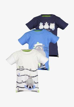MINI KN T-SHIRT, RH - 3ER PACK - Print T-shirt -  weiss + blau + nachtblau
