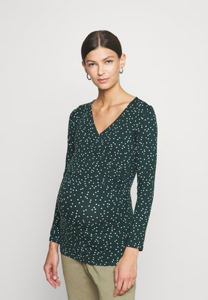 FIONA - Long sleeved top - green/off white