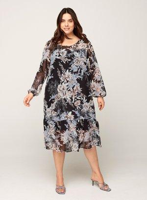 MIT BLUMENPRINT - Day dress - black