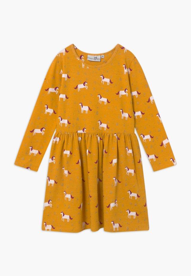 Žerzejové šaty - senf