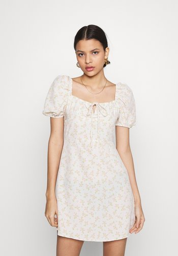 CARE MINI DRESSES WITH PUFF SHORT SLEEVES