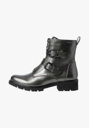 Cowboy/biker ankle boot - pewter patent