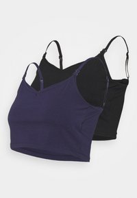 Anna Field MAMA - 2ER PACK CROP NURSING CAMI  - Toppe - black/dark blue - 5