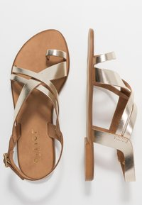 Office Wide Fit - SERIOUS - T-bar sandals - gold - 3