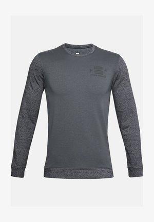 UA SPORTSTYLE TERRY KO CREW - Print T-shirt - pitch gray full heather