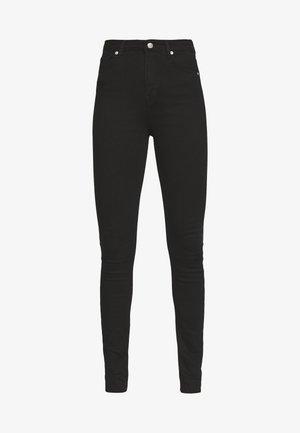 HIGH WAIST RAW - Jeans Skinny Fit - black