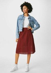 C&A - A-line skirt - dark red - 1