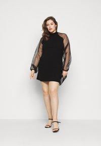 Missguided Plus - PLUS HIGH NECK SLEEVE MINI DRESS - Cocktail dress / Party dress - black - 1