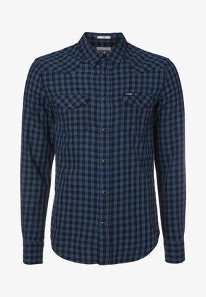 LS WESTERN - Shirt - dark blue teal