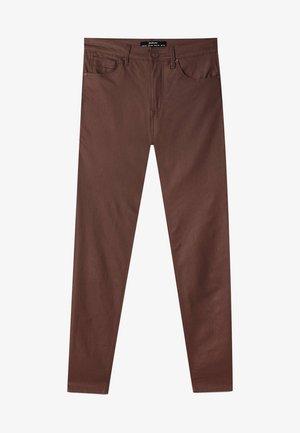 MIT HOHEM BUND - Trousers - mottled dark brown