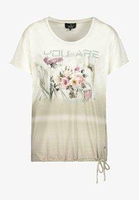 Monari - Print T-shirt - dusty green gemustert - 1