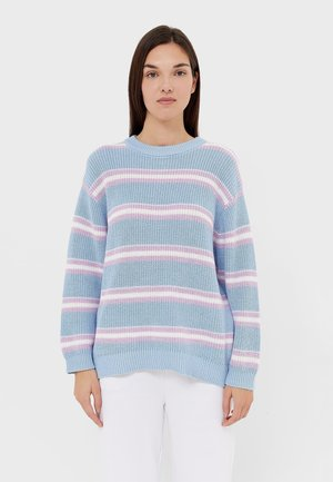 OVERSIZE MIT STREIFENMUSTER - Jumper - light blue